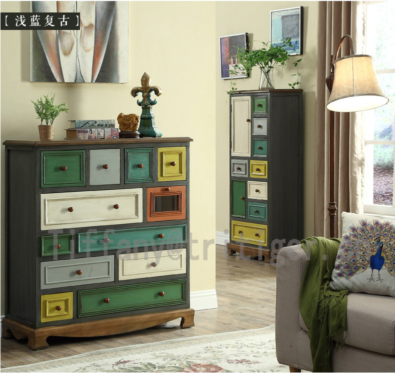 American Vintage classic wooden Multi Drawer cabinet