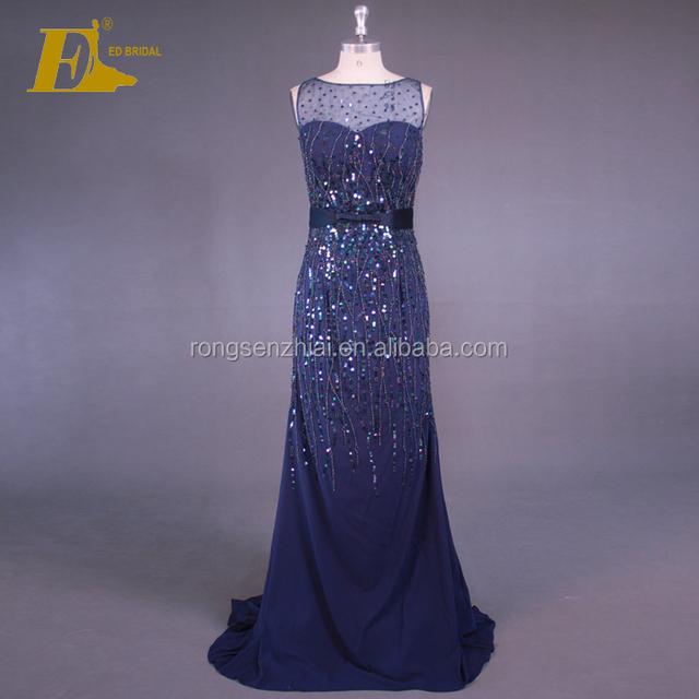 d67a67ed5 ED Bridal Real Sample Picturers Beaded Mermaid Sleeveless Zipper Navy Blue Evening  Dress 2017