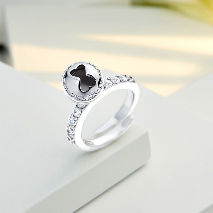 Meno Rhodium plated Charming bell adjustable size open finger Ring for girlfriend