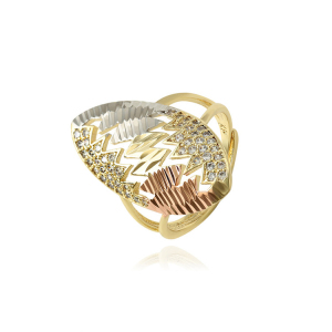 15822 Xuping Multicolor 14k gold cubic zircon rings women,luxury synthetic cz alloy copper ring jewelry