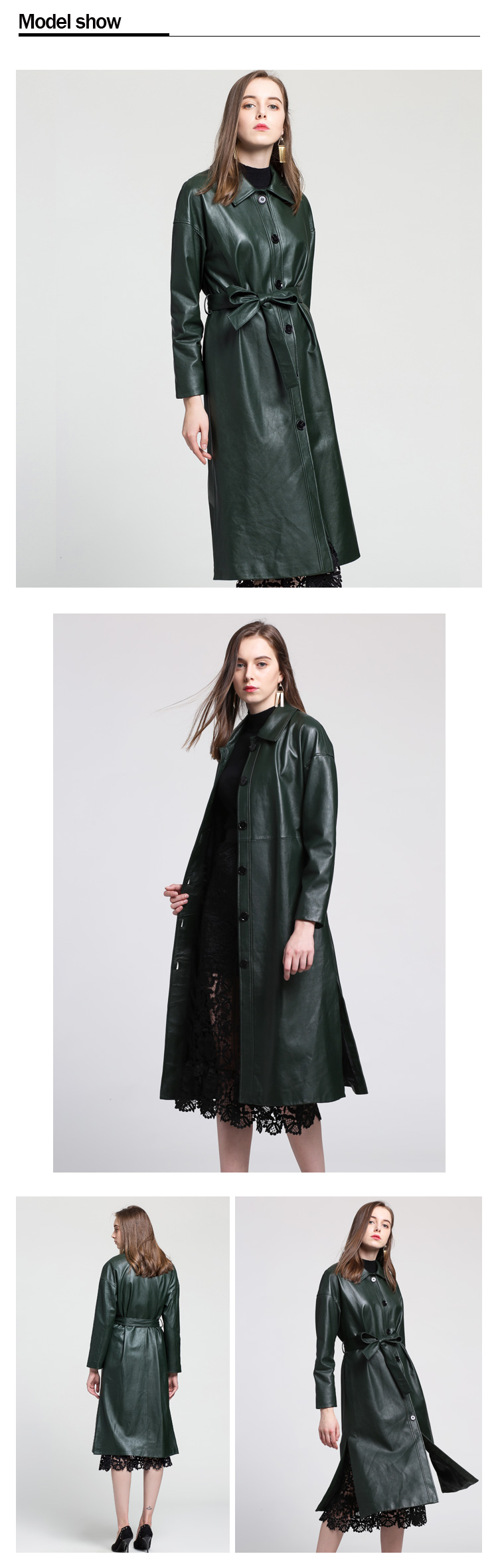 high quality Genuine leather trench coat women long / female trench coats women with waist