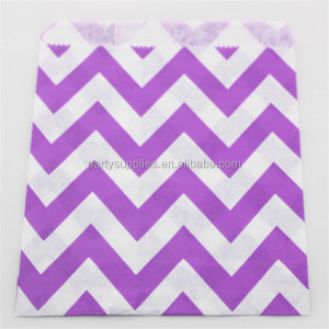 Eco-friendly Purple Chevron Party Favor Bags Candy Bags