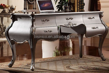 European Style Luxury Executive Office Desk, Classic Wood Carving Writing  Table, Silver Foil Home