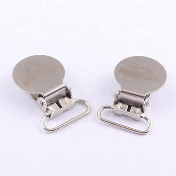 Customized Laser Logo 20mm Round Shape Metal Pacifier Suspender Clips