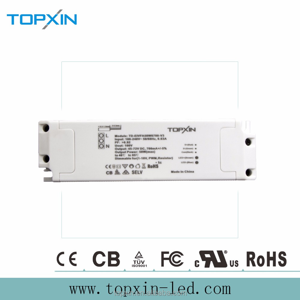 TUV-CE/CB/SAA Confirmed 50 W 700mA Low Ripple LED Driver Dimmable Power Supply