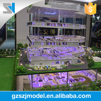 high quality custom commercial plaza architectural model making