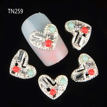 10pcs Silver Metal Heart Rhinestones 3d Nail Art Decorations Alloy Nail Stcikers Charms Jewelry for Nail