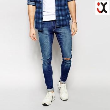 1c44e20b2c Vaqueros superpitillo extremos rodillas rotos nueva moda jeans pantalones  vaqueros slim para hombres JXQ1215