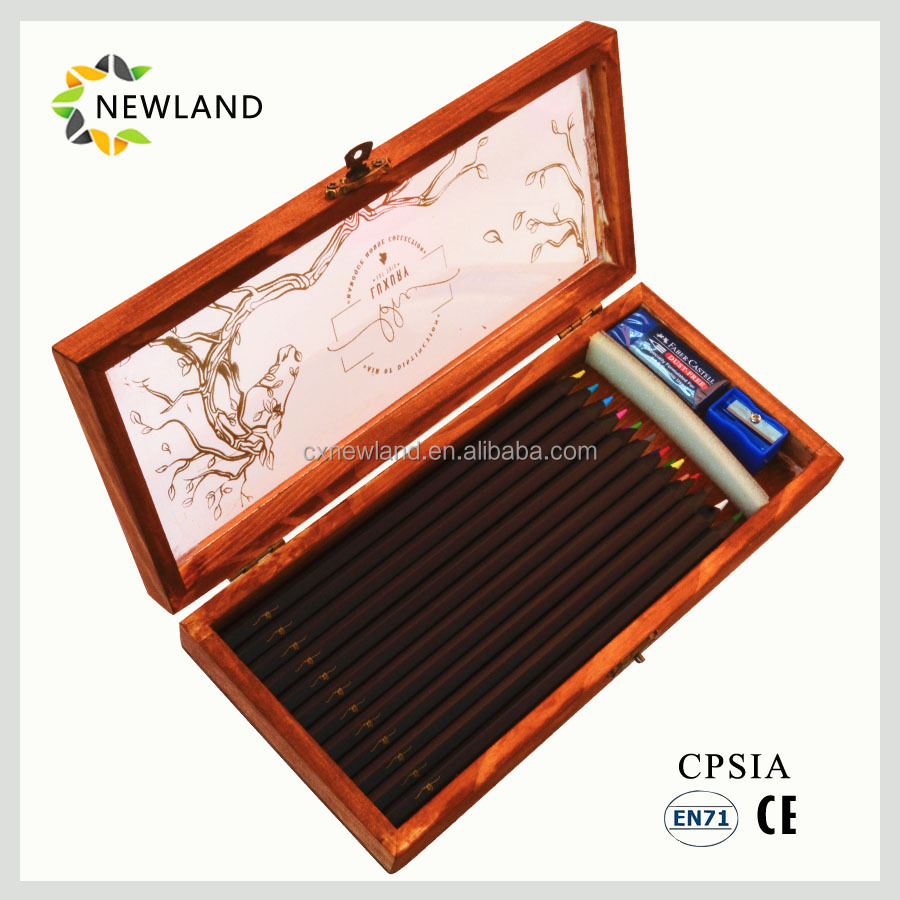 12/24 Black Wooden Color Pencil Set with Wooden Case