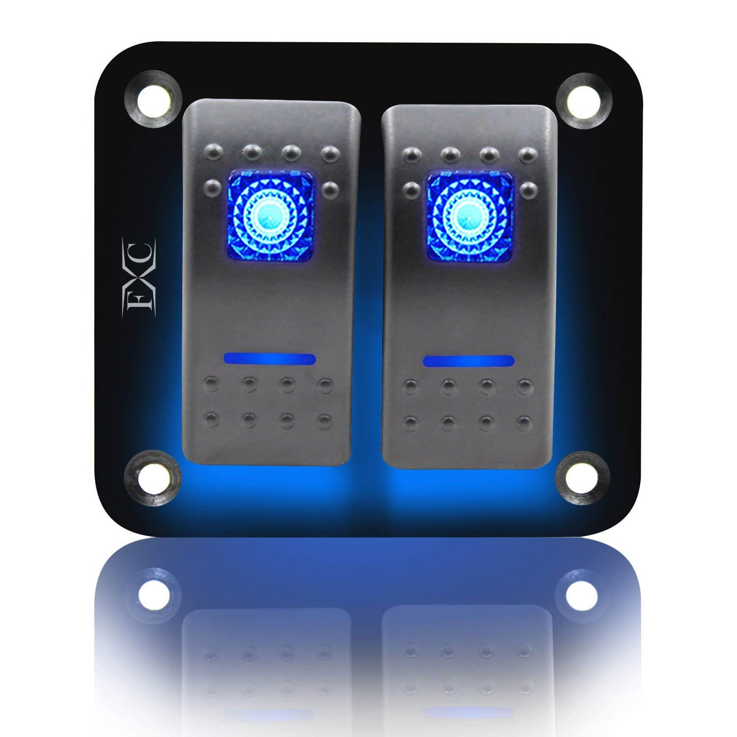 FXC Rocker Switch Aluminum Panel 2 Gang Toggle Switches Dash 5 Pin ON/OFF 2 LED Backlit for Boat Car Marine Blue