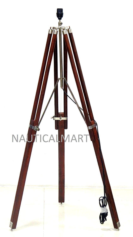 Nauticalmart Industrial Designer Natural Wooden Tripod Floor Lamp Stand