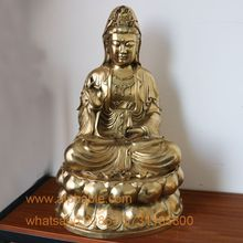 Hot Selling Bronze Statue For Desk Gold Plated Bronze Kwan-Yin Sculpture