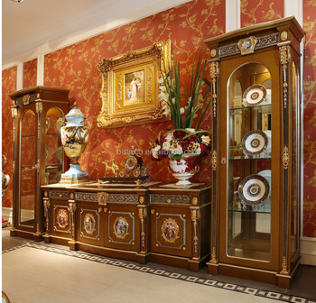 French Louis Xv Style Golden Wood Carving Tv Cabinet With