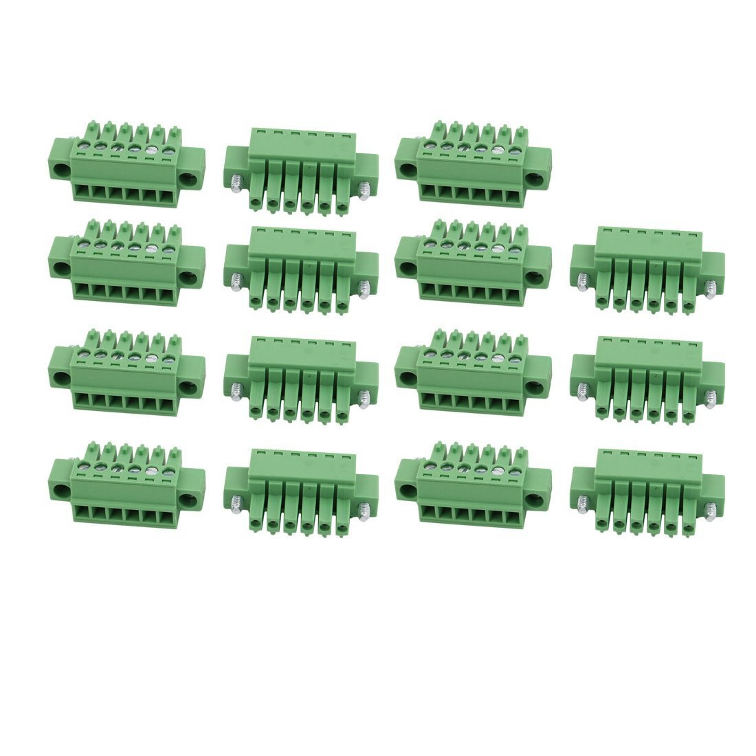 uxcell 15Pcs LC1M AC300V 8A 3.5mm Pitch 6P PCB Mount Terminal Block Wire Connector