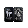 black candy mint packaging small mobile cable earphone tin box with hinged cover