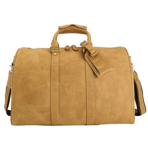 TIDING high quality vintage crazy horse men travel leather duffel bag
