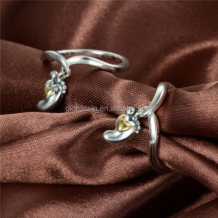 925 Sterling Silver Fashion Baby Feet Shape Gold Plated Ring Custom engagement ring