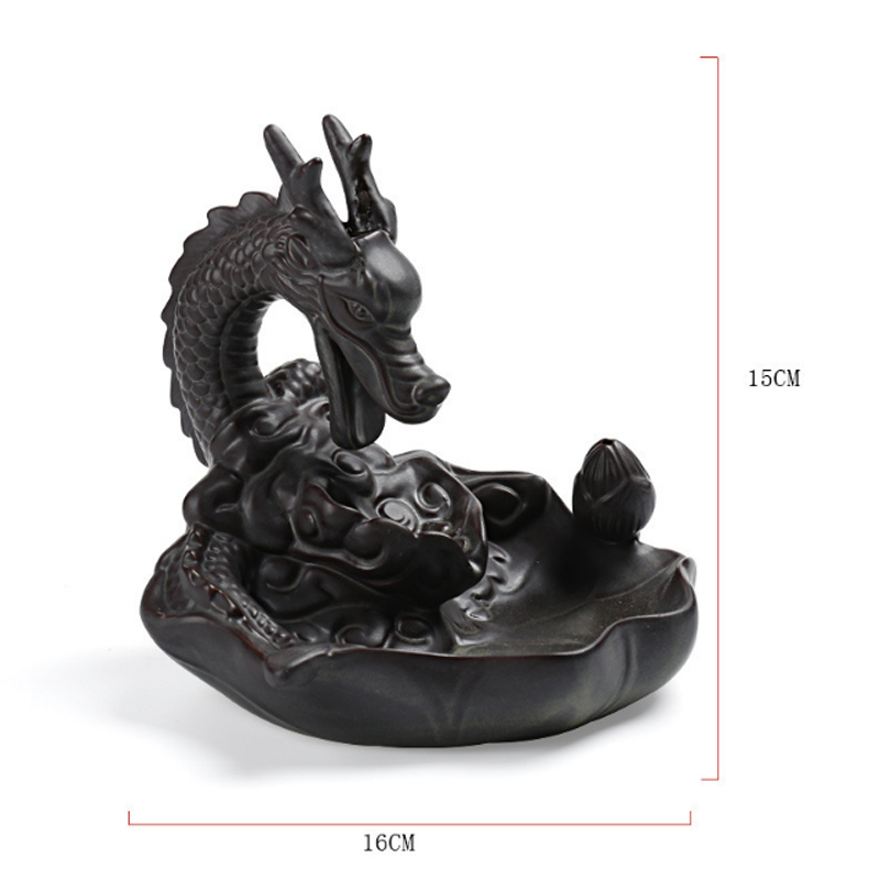 Ceramic Dragon Incense Burners Smoke Backflow Best Cone Censer Stick Holder mini Office Desk Home Decor Teahouse Ornament