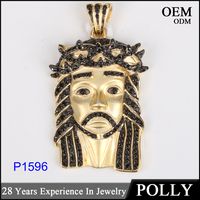 10K Yellow gold jewellery jesus face piece Cuban link Crown diamonds pendant charm