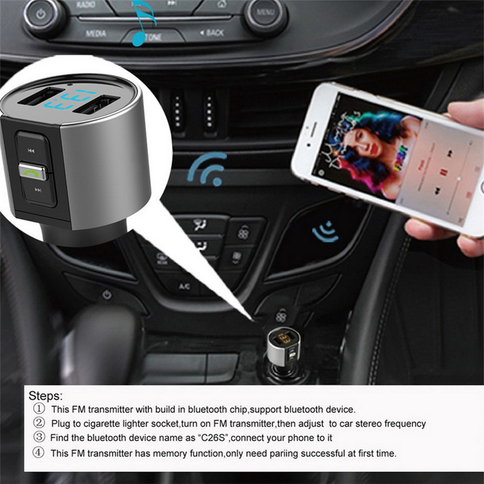 Car MP3 Player Wireless Bluetooth FM Transmitter Charger W