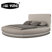 Beautiful modern bedroom round bed design LED lighting colorful A542