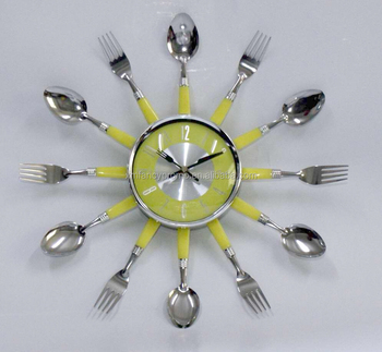 Modern Design Wall Clocks Colourful Cutlery Kitchen Utensil Wall Clock Spoon Fork Clock Home Decor Buy Colourful Spoon And Fork Wall Clock Metal
