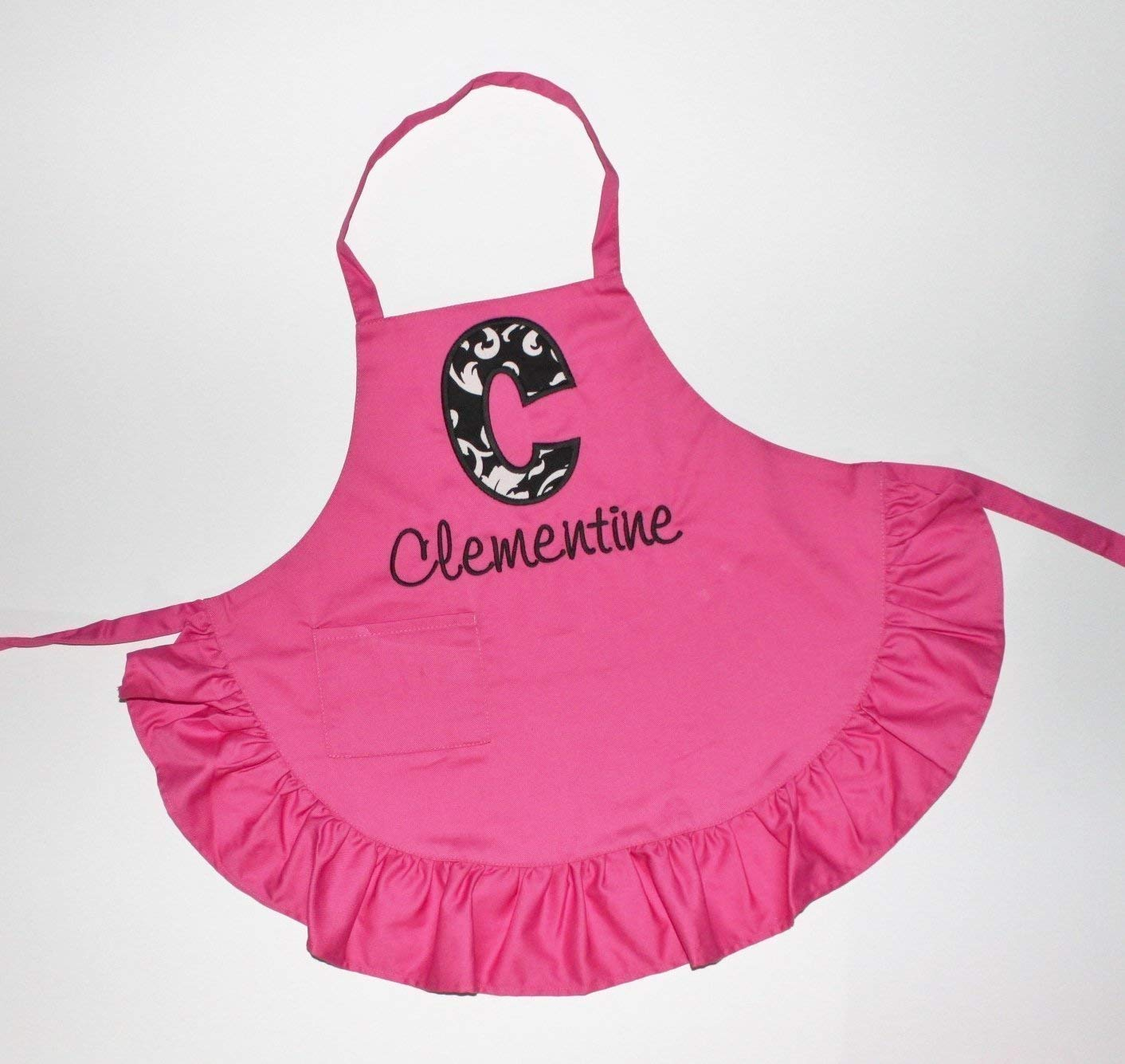 Child Size Hot Pink Ruffled Apron with Name and Initial, Kids Apron, Pink Ruffle Apron
