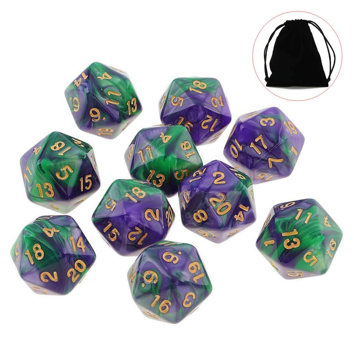 10pcs 20 Sided Dice D20 Polyhedral Dices Table Games Gadget Playing Multisided Dice - EDC Gadgets Gadgets - (#6) - 10 X D20 Polyhedral Dices, 1 X bag