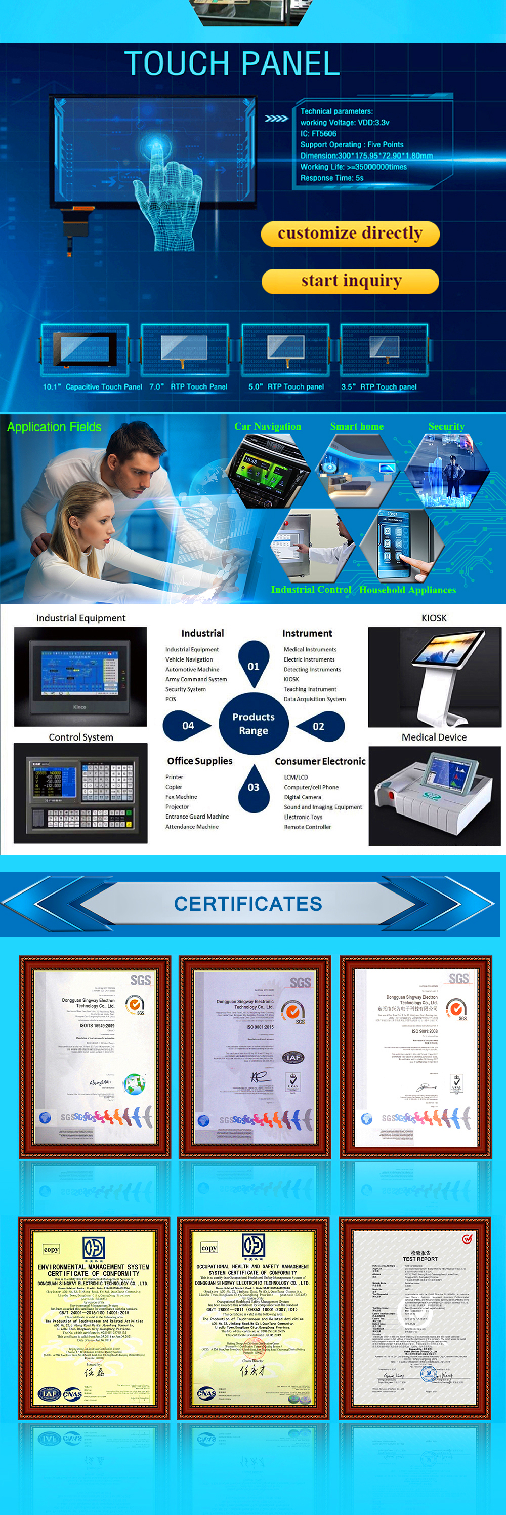 Standard 4.3 인치 capacitive touch screen touch panel 대 한 산업 control system