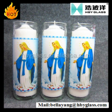 SEVEN Day Prayer Candles in Transparent Glass Jar/Transparent Glass 7 Day Religious Candles