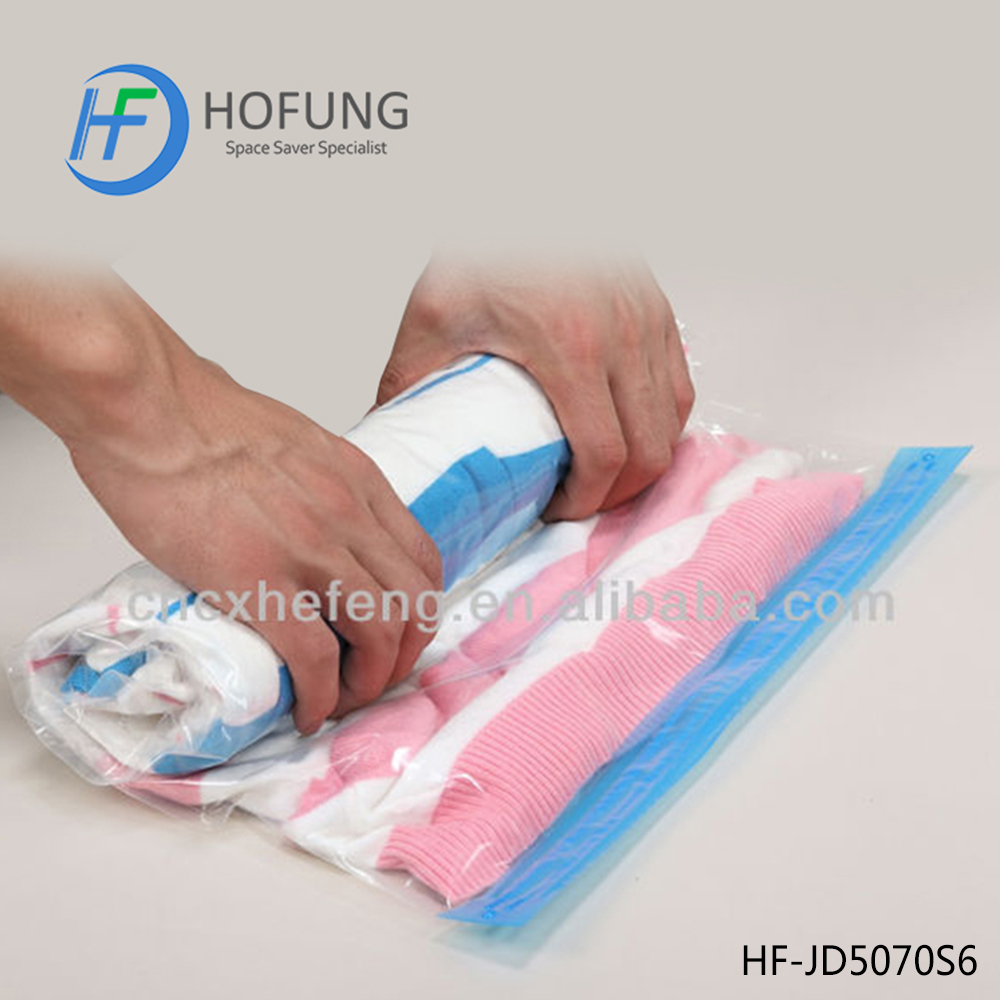 Household Plastic Compressed 75% Space Vacuum Storage Roll Up Bags