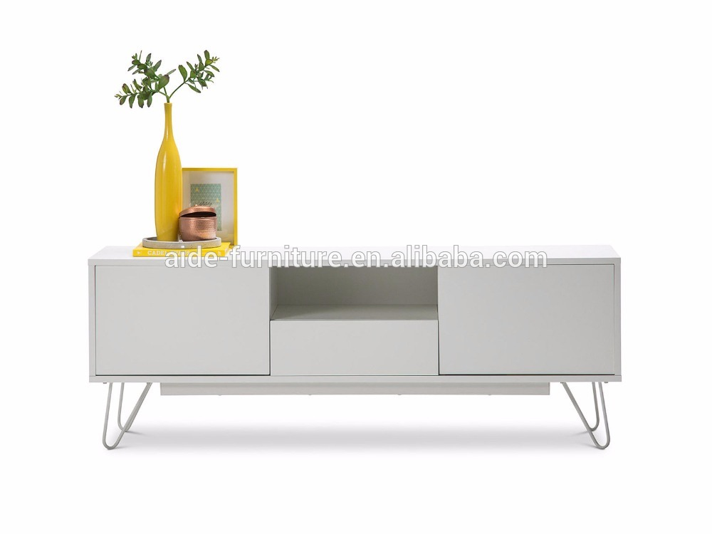 New Arrival Contemporary TV stand white metal leg TV unit