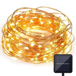 Solar powered waterproof copper wire string mini led fairy light for wedding christmas party house decoration 100leds
