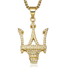 Hip-hop Mens Cool Street Dance Accessories Personalized Diamond Big Brand Symbol Crown Pendant Necklace