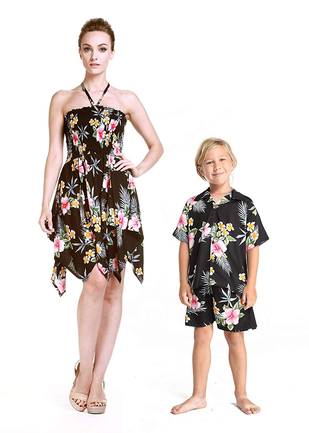 5520a03dbb55 Get Quotations · Matching Mother Son Hawaiian Luau Outfit Dress Shirt in  Hibiscus in 3 Colors