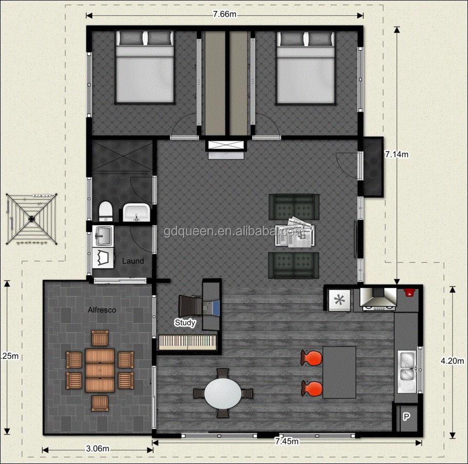 2 bedroom structural steel frame house 2d floor plans