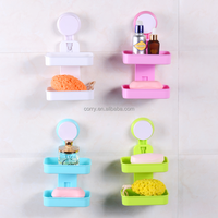 Vacuum suction cup bathroom and kitchen plastic double layer shelf/soap holder