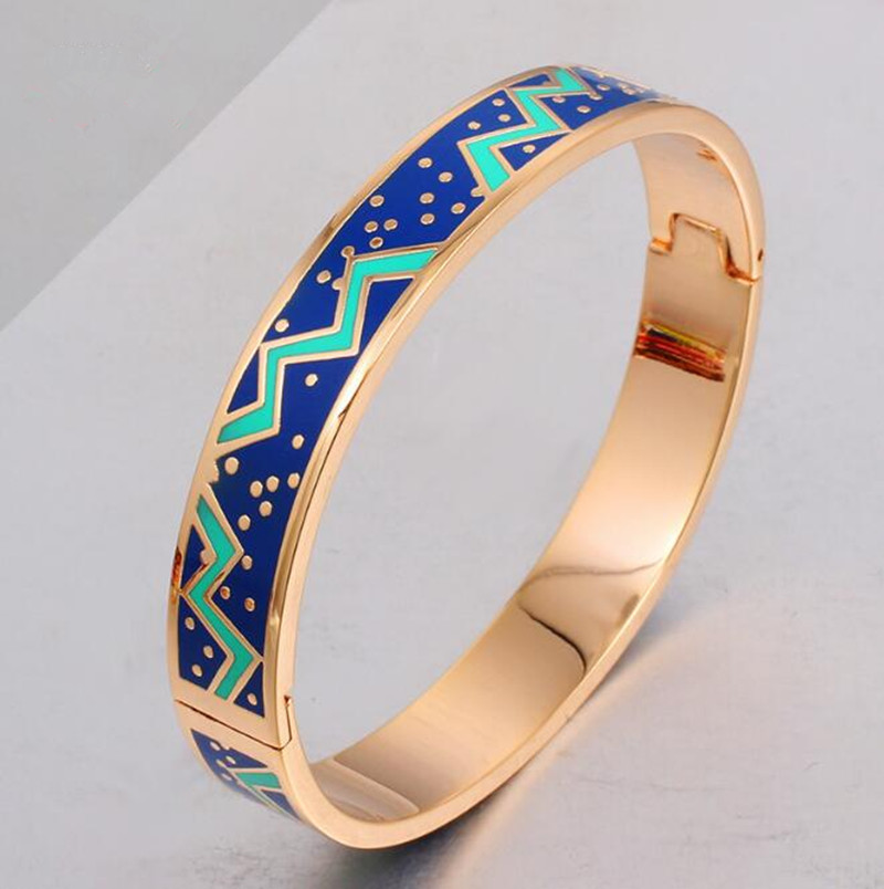 Artificial New Pink Waves Cuff Hinged Enamel Fake Gold Jewelry Jewellery Bracelet Bangle Models
