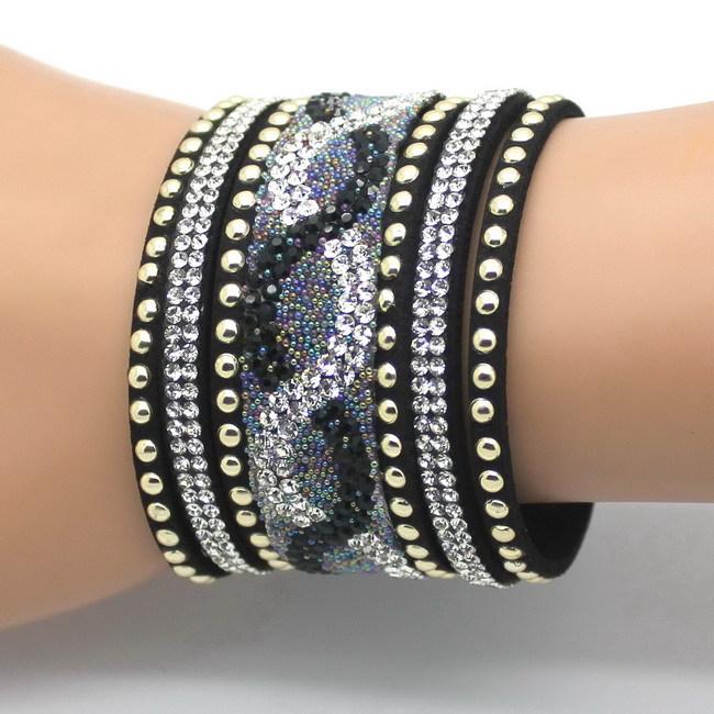 Подвески женщины кожа браслеты печать бриллиантовое паве горный хрусталь браслет черный цвет