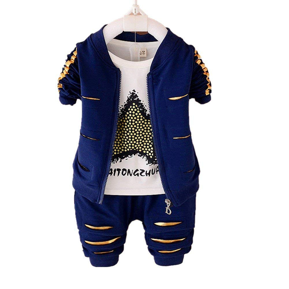 JIEYA Baby Boys Outfits Long Sleeve Hoddie Sweatshirt+ T-Shirt+Pant 3 piece Clothing Set