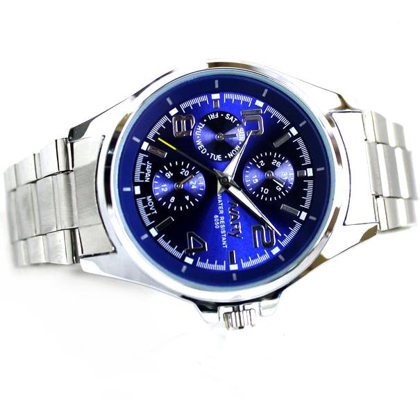 Мужчины нержавеющая сталь часы свободного покроя аналоговый кварцевый до запястья часы круг циферблат