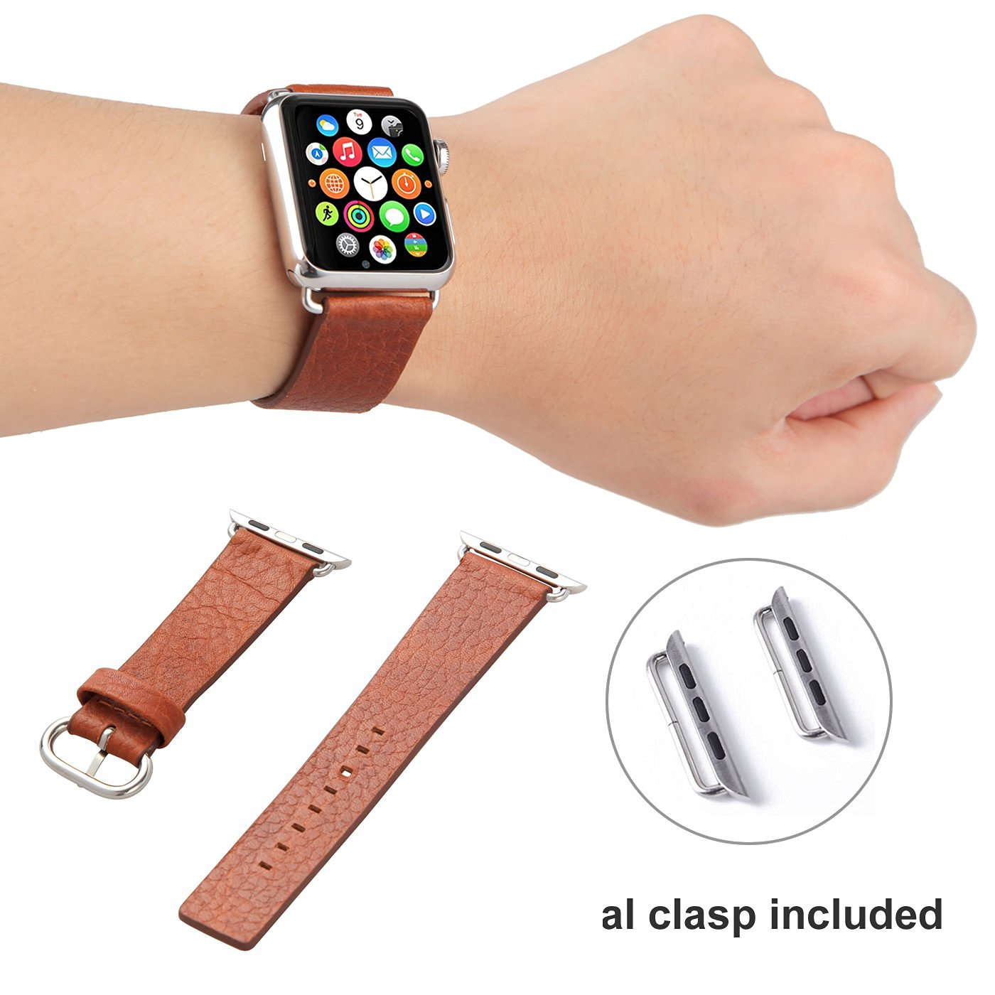 Apple Watch Band, iwatch Band w/ Metal Clasp, Plusinno 38mm 42mm Genuine Leather Apple Watch Strap Wrist Band Replacement Watch Band with Metal Clasp for Apple Watch 42mm Sport Edition (42mm-Brown)