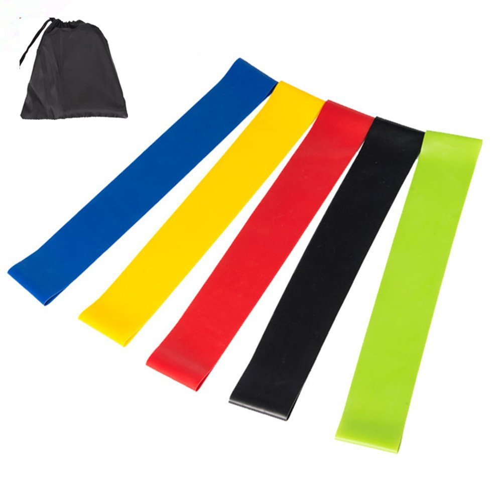 huangda Bands Exercise - Set of 5,Fit,Simplify,12-inch Workout Bands for Leg, Ankle, Stretching, Physical Therapy, Resistance Loop,Yoga and Home Fitness Bands - 100% Natural Latex !
