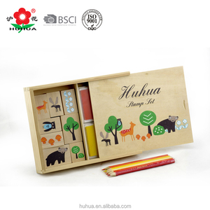 wooden animal stamp set non-toxic diy kids stamp set