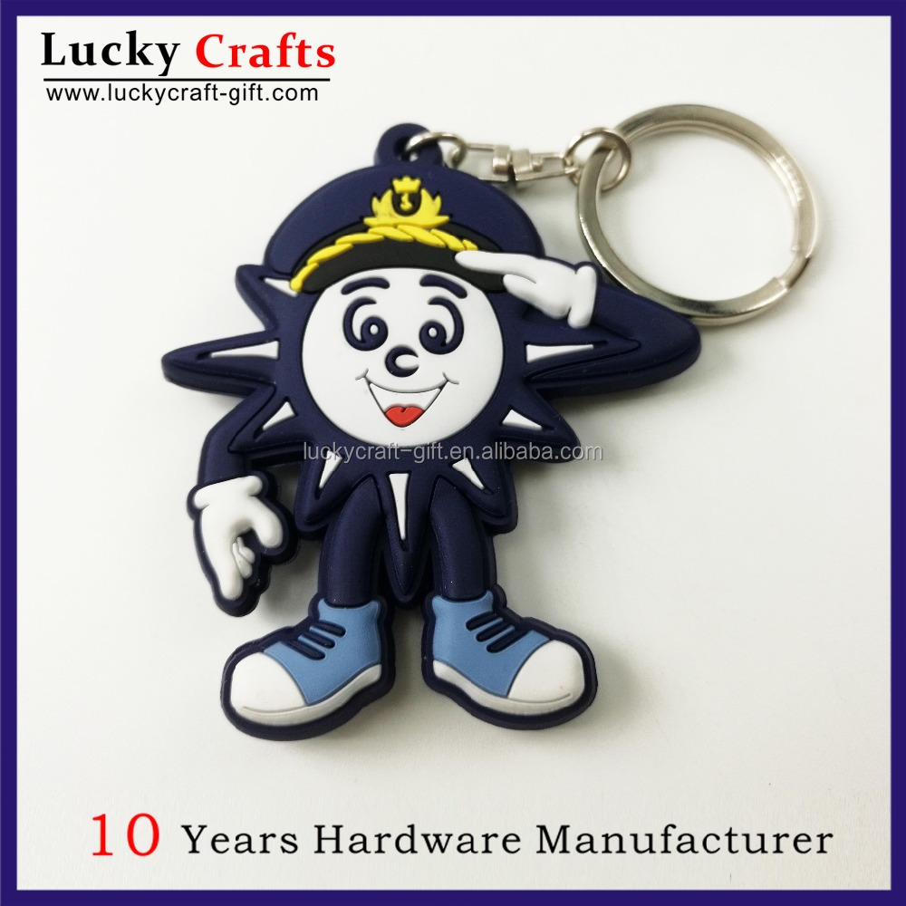Hot sell 3D carton design cute animal shape soft PVC keyring