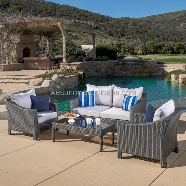 Outdoor Antibes 4-piece Wicker Chat Set with Cushions by Christopher Knight Home