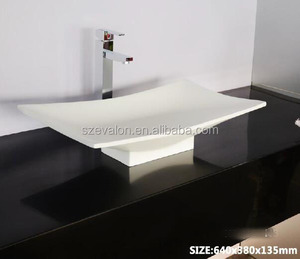 integrated one piece bathroom sink and countertop for commercial use,acrylic solid surface wall hung basin