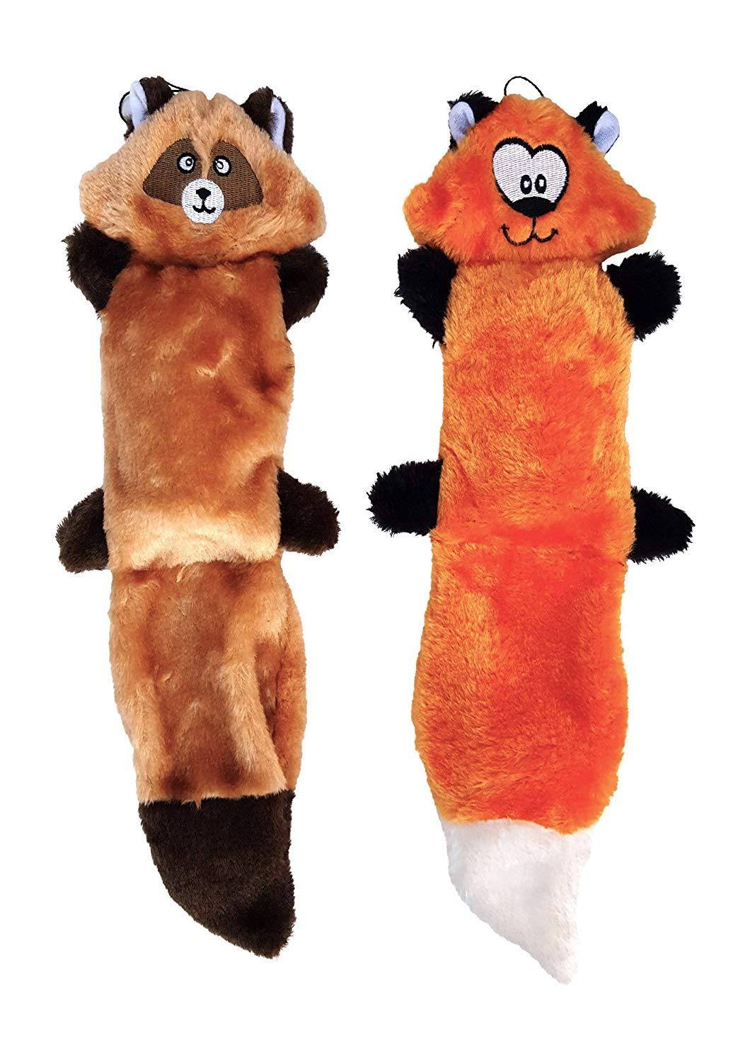 ZippyPaws Bundle of 2 Plush Dog Toys, With Squeakers, No Stuffing, Full Sized Fox and Raccoon Set
