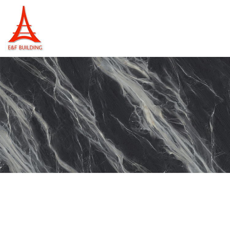 E&F living room textured floor tiles 800x1600mm black carrara marble look porcelain tile