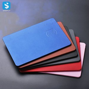 Universal PU Leather Fast Charge Mobile Phone Mouse Pad,Newest Super Slim 5W mouse pad with wireless charger